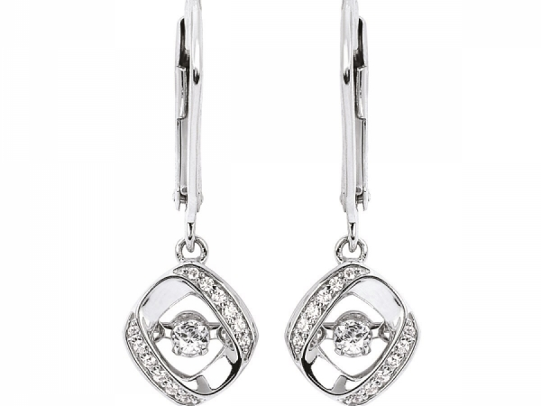 Pendants & Necklaces - Silver Shimmering Diamond Earrings